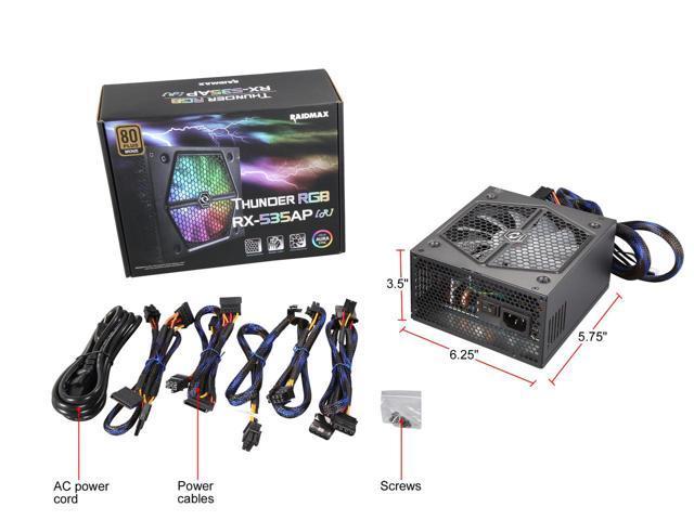 RAIDMAX Thunder RGB RX-535AP-R 535W ATX 12V v2.3 / EPS 12V 80 PLUS BRONZE Certified Modular Power Supply $44.99 F/S @ NeweggFlash