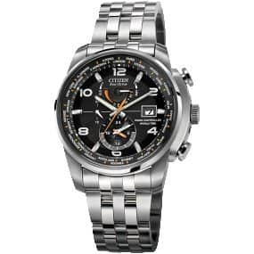 Citizen Eco-Drive Men's Silvertone and Black World Time A-T Watch $295