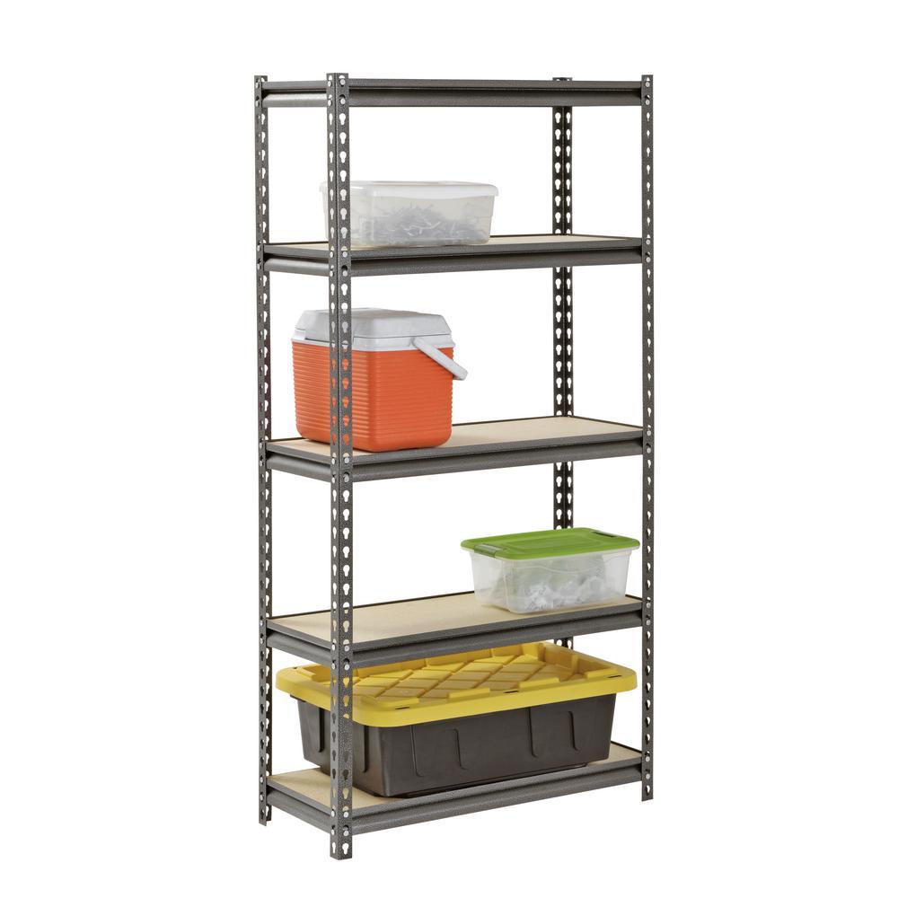 Muscle Rack 60 in. H x 30 in. W x 12 in. D 5 Shelf Z-Beam Boltless Steel Shelving Unit in SilverVein $34.98