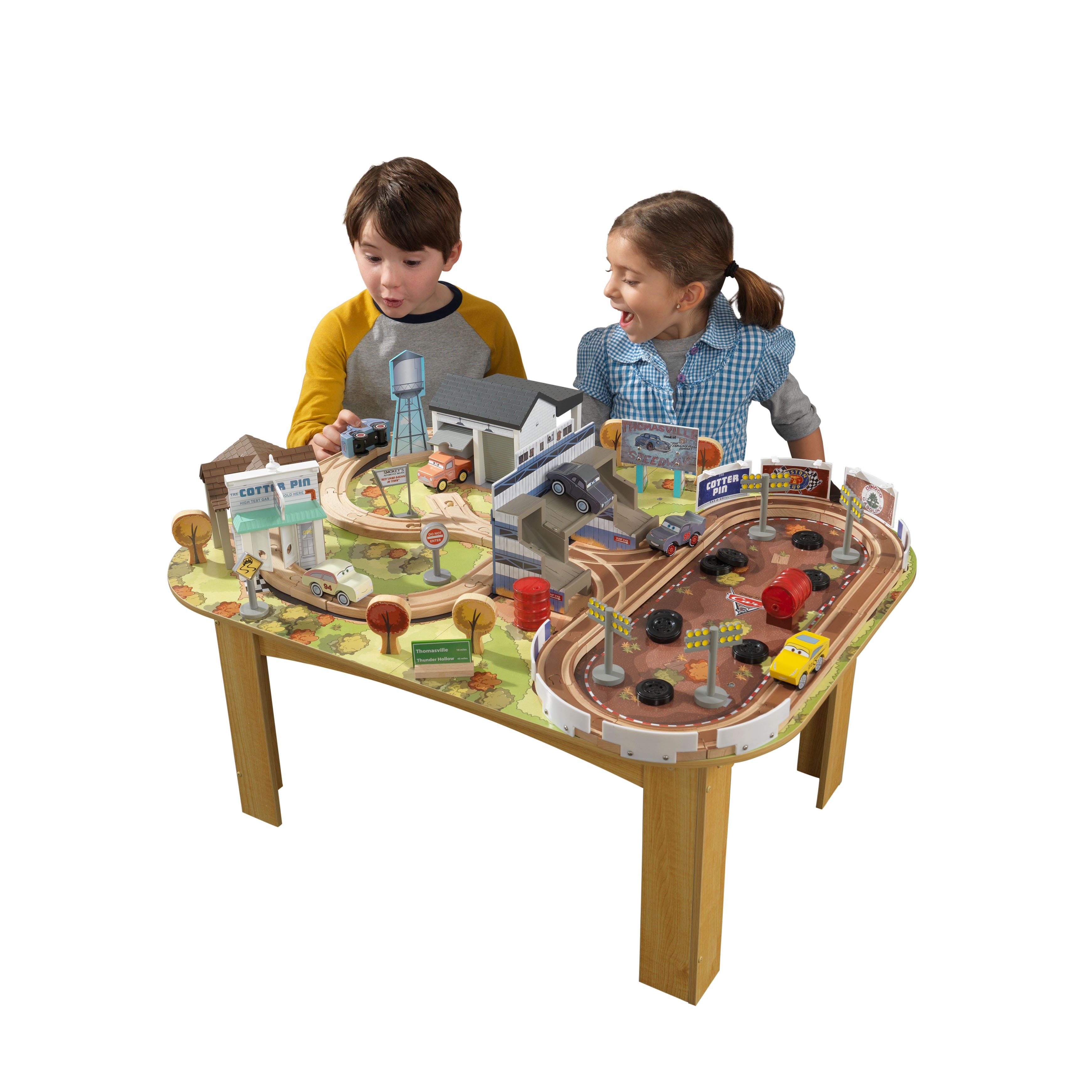 Amazon - KIDKRAFT Disney Pixar Cars 3 Thomasville 70 Piece Wooden Track Set with Accessories and Table - $49.98!