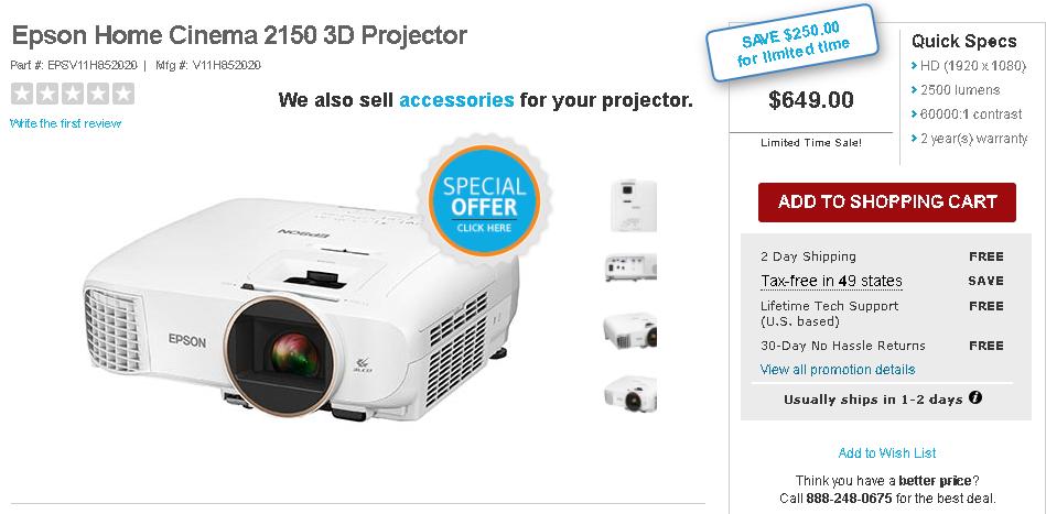 Epson 2150 3D projector $649