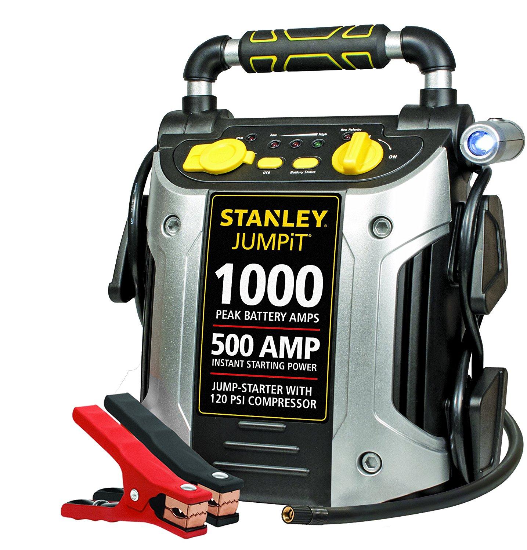 STANLEY J5C09 Jump Starter: 1000 Peak/500 Instant Amps, 120 PSI Air Compressor $59.99