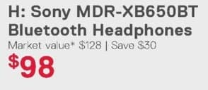 Dell Home & Office Weekly Ad: Sony MDR-XB650BT Bluetooth Headphones for $98.00
