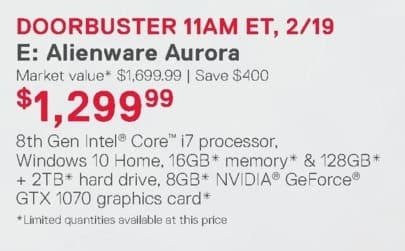 Dell Home & Office Weekly Ad: Alienware Aurora for $1,299.99