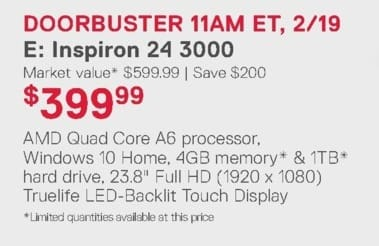 Dell Home & Office Weekly Ad: Inspiron 24 3000 for $399.99