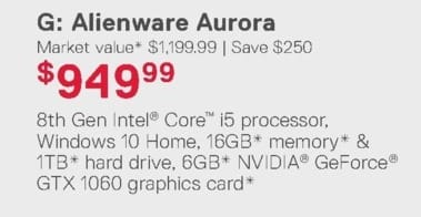 Dell Home & Office Weekly Ad: Alienware Aurora for $949.99