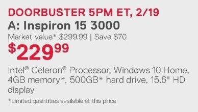 Dell Home & Office Weekly Ad: Inspiron 15 3000 for $229.99