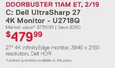 Dell Home & Office Weekly Ad: Dell UltraSharp 27 4K Monitor - U2718Q for $479.99