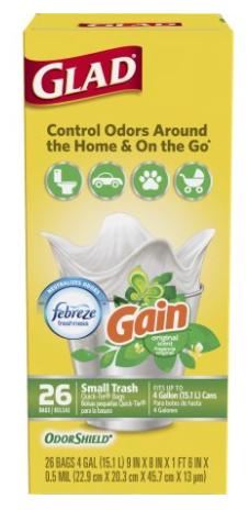 Walmart: Glad OdorShield Small Trash Bags - Gain Original with Febreze Freshness (4 Gallon/26 ct) - $1.72 after $2 Rebate