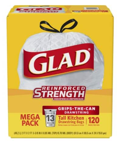 Walmart: Glad Tall Kitchen Drawstring Trash Bags 13 gal, 120 count - $10.97 after $6 Rebate + Free In-Store Pickup