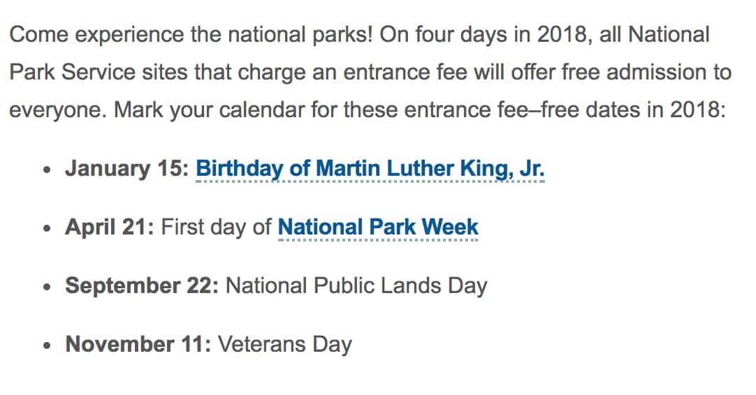 MLK Day (Free National Park Entrance)