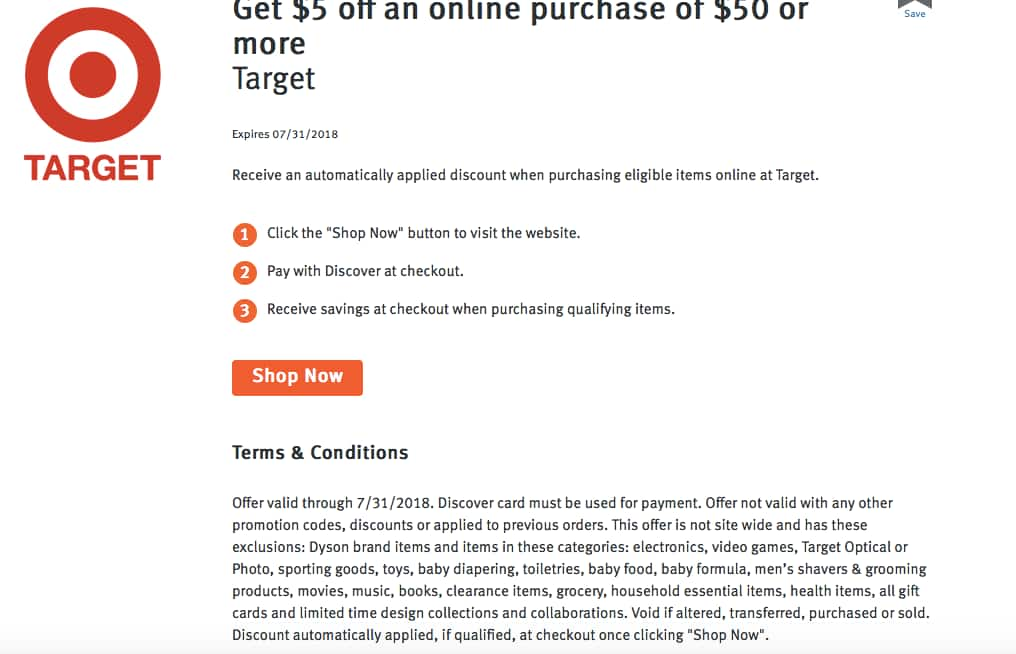 9ac77f145f02 Get  5 off an online purchase of  50 or more TARGET (discover deal)  45