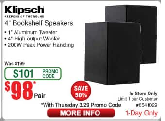 Fry's Email Exclusive - Klipsch Reference R‑14M Bookshelf Speakers (Pair) - $98 Pick up only