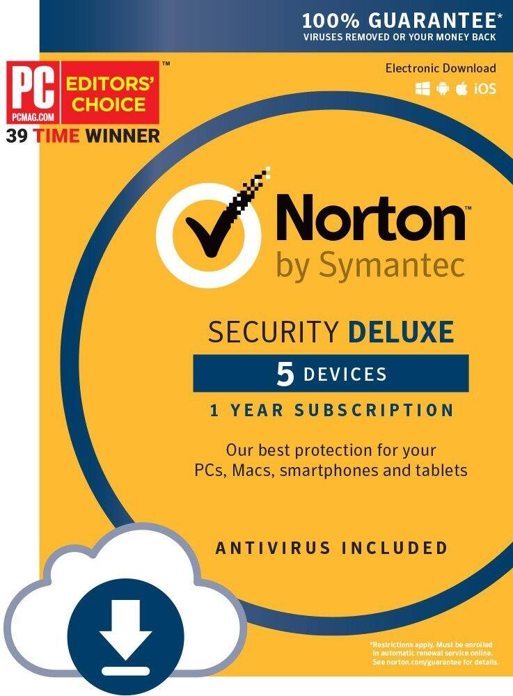 Norton Security Deluxe - 5 Device [Download Code] at $19.99