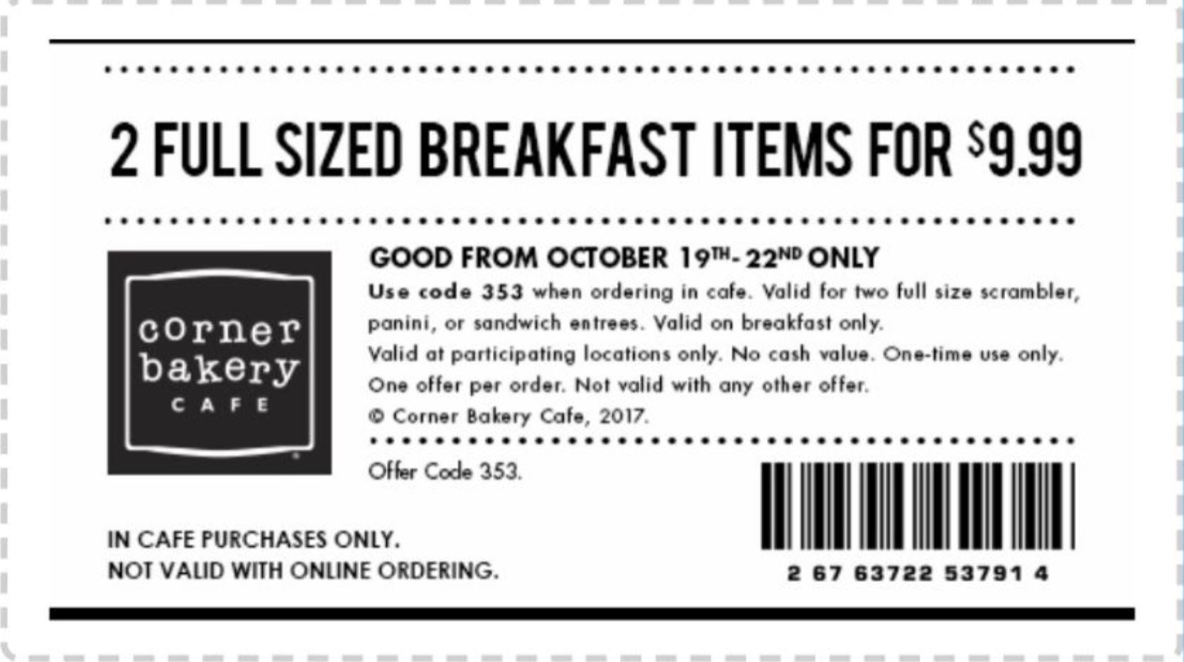 corner bakery coupons online