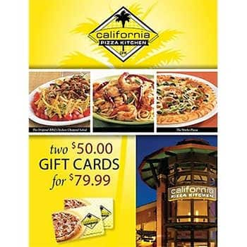 California Pizza Kitchen Two $50 Gift Cards Offline(B&M) $69.99