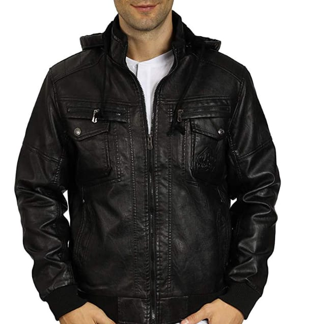 WULFUL Men's Faux Leather Jacket with Removable Hood $18.19