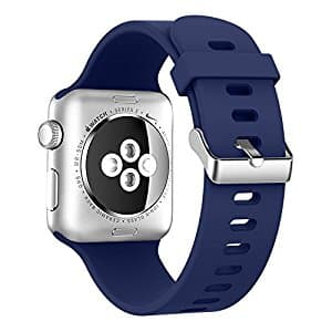 Apple Watch Band 38mm, Alritz Soft Silicone iWatch Replacement Band Sport Strap with Stainless Steel Buckle for $4.95 @Amazon