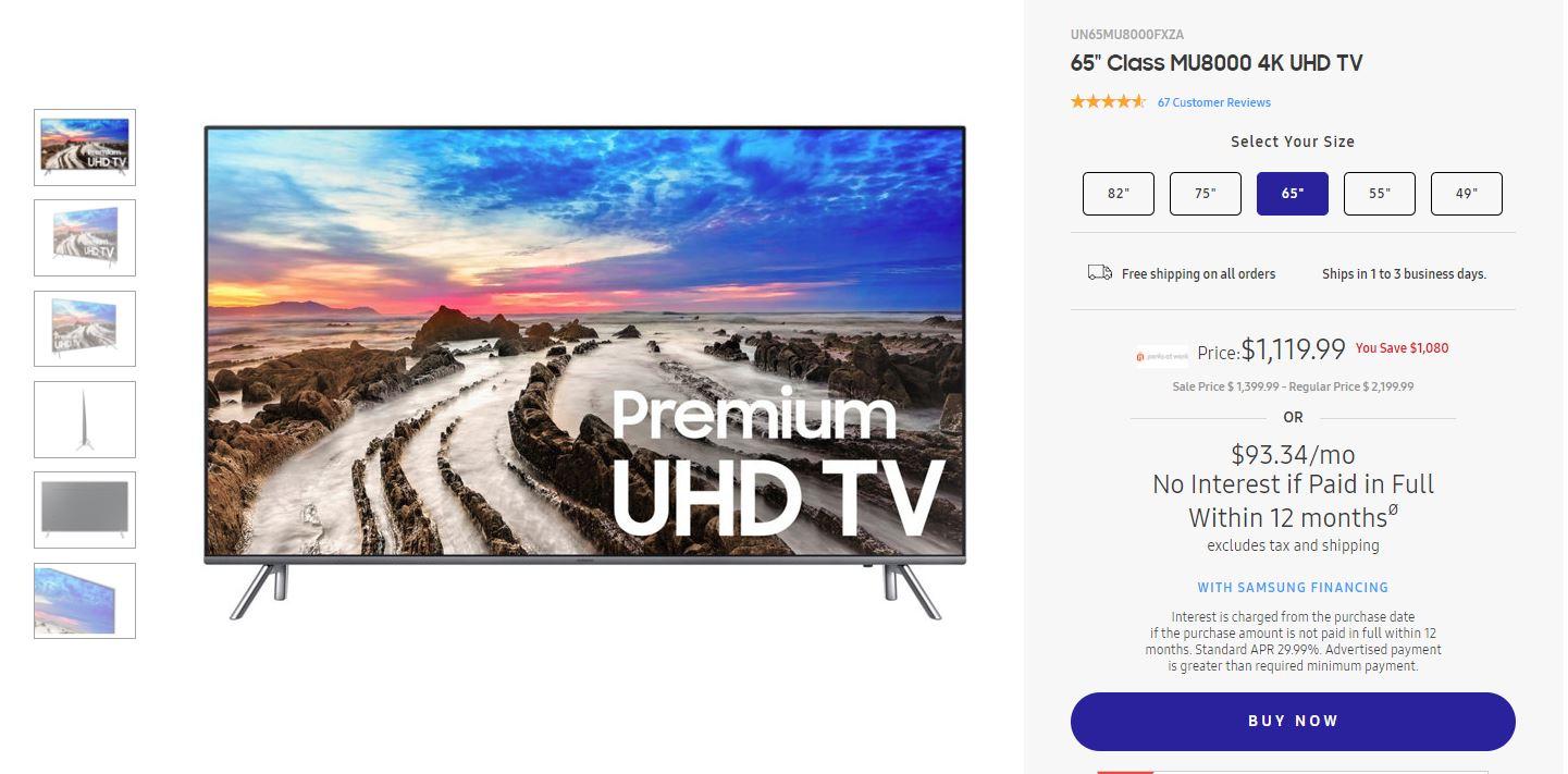 "Samsung 65"" Class MU8000 4K UHD TV for $1,119.99 + tax through employer EPP Discount (Employee Purchase Program)"