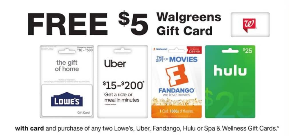 Lowes/UBER Gift Card Promo @ Walgreens - Up To 25% discount via Walgreens Gift Card