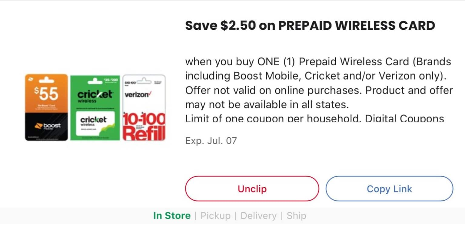 Boost Mobile, Cricket and/or Verizon Prepaid Wireless Card $2.50 off @ Kroger B&M