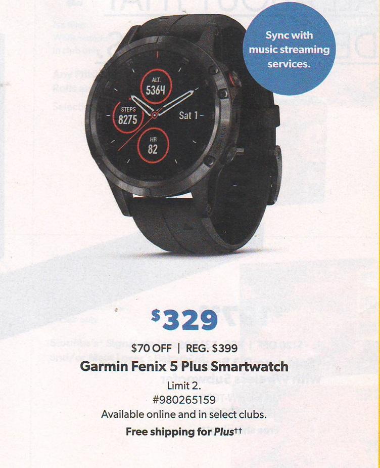 Starting Nov 20 - Garmin fenix 5 Plus Multisport GPS Watch $329 @ Sam's Club