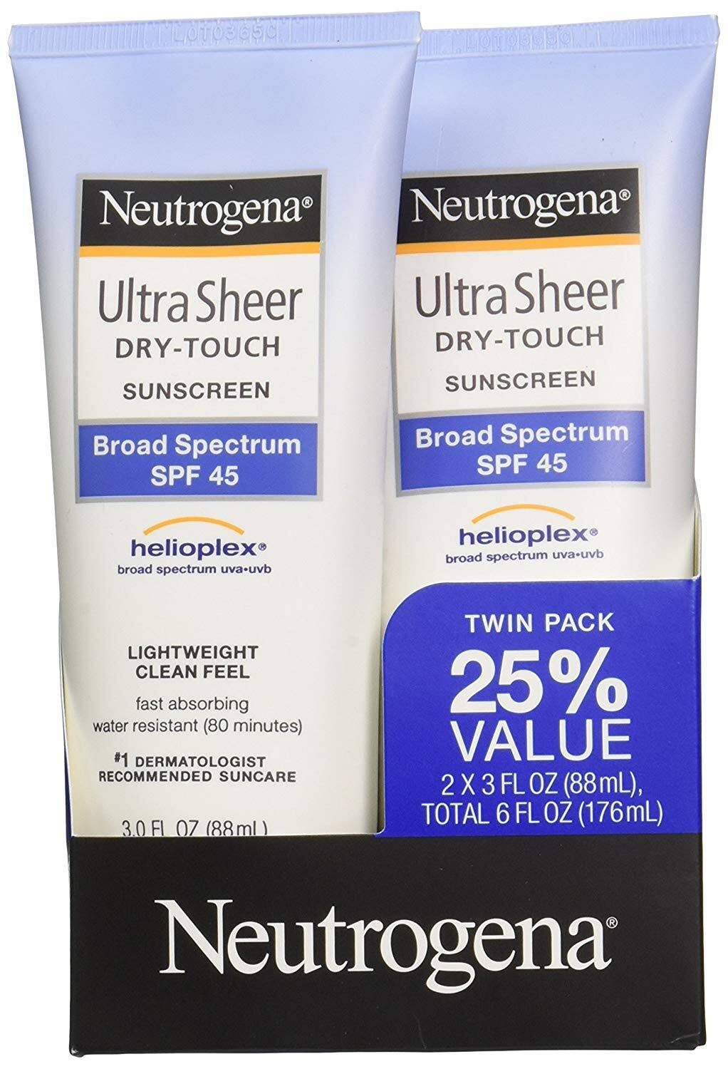 2 pack Neutrogena Ultra Sheer Dry-Touch Water Resistant and Non-Greasy Sunscreen Lotion with Broad Spectrum SPF 45, 3 fl. oz, [SPF 45] $8.39