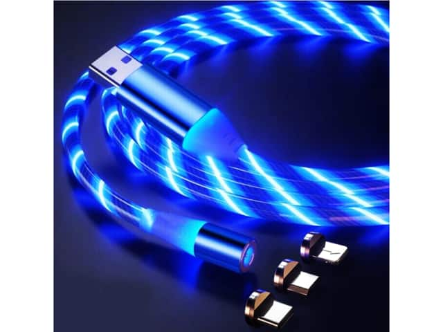 LED Flowing Magnetic Charger Blue Cable Light Up USB Snap Quick Connect 3 in 1 USB Cable $7.92AC