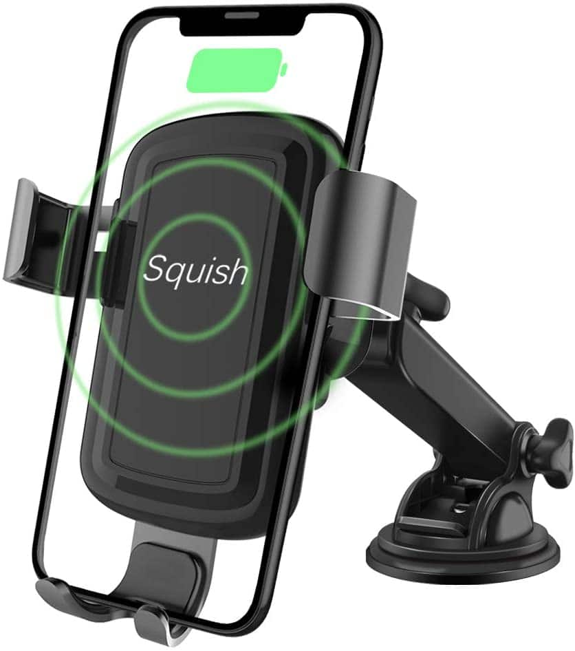 Wireless Charger Car Phone Mount, Squish Qi Fast Charging Wireless Car Charger Mount 10W 7.5W, Cell Phone Holder For Iphone Android $16.49