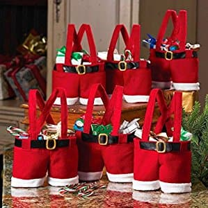 Homecube 6pcs Christmas  Santa Pants Gift and Treat Bags with Handle $14.39 @Amazon