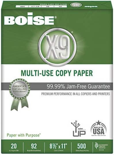 Office Depot Boise X-9 ream paper, Pay $6.00, get back $5.99 in Rewards (04.24.2016 - 05.14.2016) Limit 3 per week