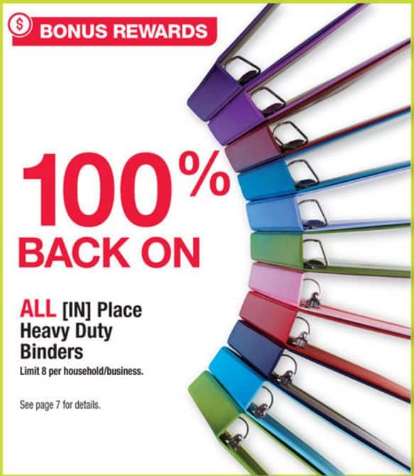 Office Depot OfficeMax Rewards: 100% back in rewards on all [IN]Place Heavy Duty Binders (09/18/2016 - 09/24/2016)