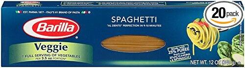 Barilla Veggie Pasta, Spaghetti, 12 Ounce (Pack of 20) as low as $17 with Amazon Subscribe & Save