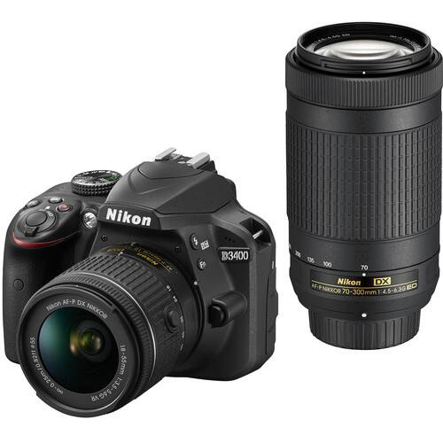 Nikon D3400 DSLR Camera with 18-55mm and 70-300mm Lenses (Black) (Save $400.00) $496.95