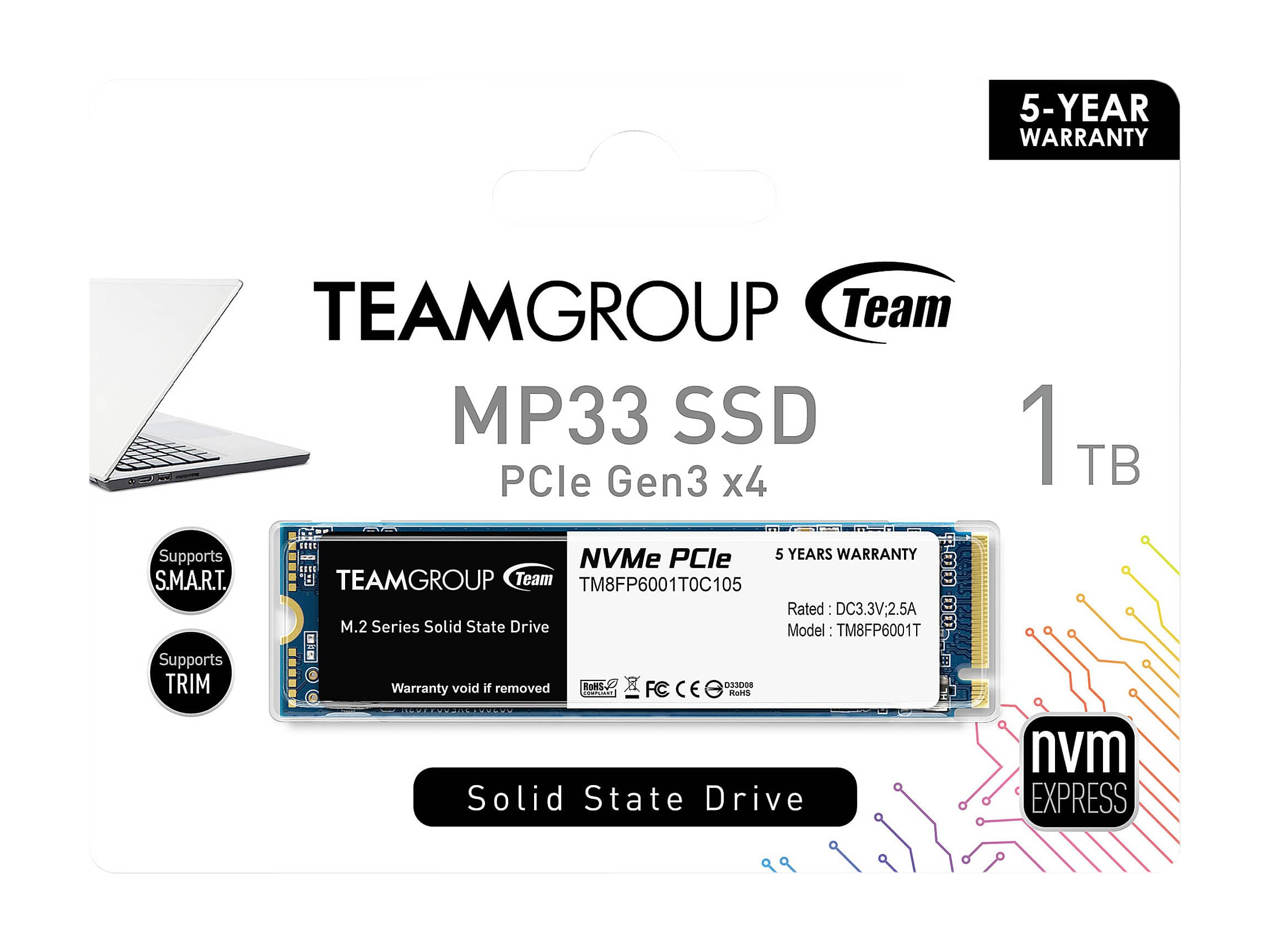 Team Group MP33 M.2 1TB PCIe 3.0 x4 with NVMe 1.3 3D NAND Internal Solid State Drive (SSD) - $89.99 at NewEgg