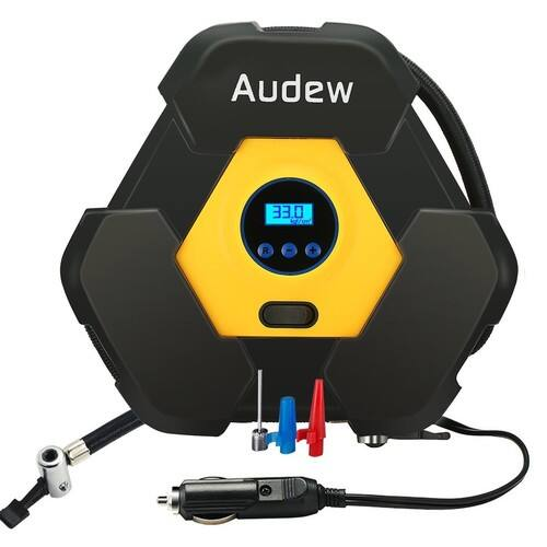 AUDEW Portable Air Compressor Pump, Auto Digital Tire Inflator, 12V 150 PSI Tire Pump for $29.99 AC + FS @Amazon