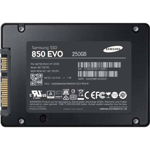 """Samsung 850 EVO Solid State Drive - 250GB Capacity, Internal, 2.5"""" Form Factor, SATA 6Gb/s, 540MBps Read/520MBps Write Speed, TCG Opal Encryption, 256-bit AES - MZ-75E250E $78.99"""