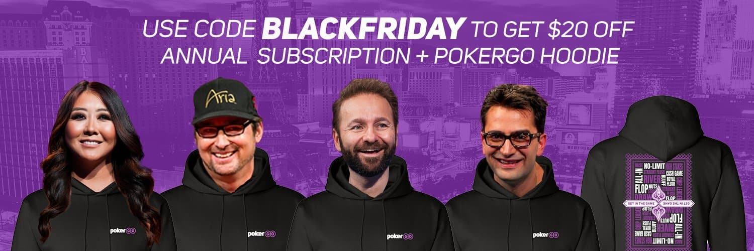 PokerGo Annual Subscription $20 off + Free Hoodie $79