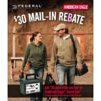 300 Rounds American Eagle Ammo w/can - .45 ACP ($  79.99 ($  0.27/rd) after MIR) and .40 ($  59.99 ($  0.20/rd) after MIR) - Cabela's