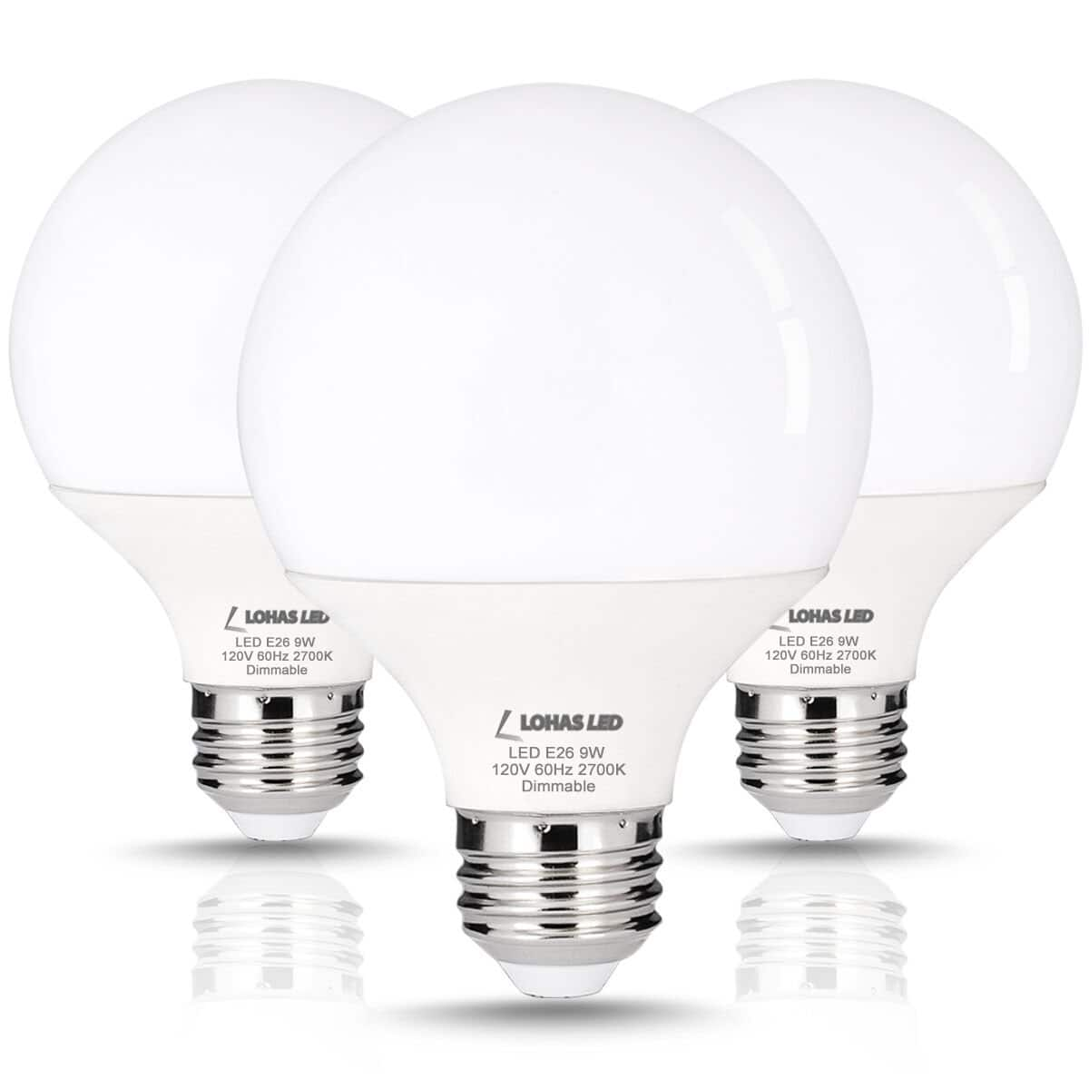 LOHAS 9W G25 LED Globe Light Bulb Warm White 2700K Dimmable (3 Pack) for $11.99 @Amazon