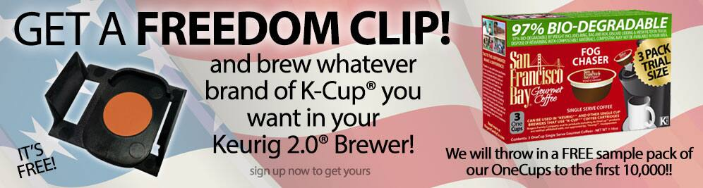 FREE Freedom clip for Keurig 2.0 Brewers