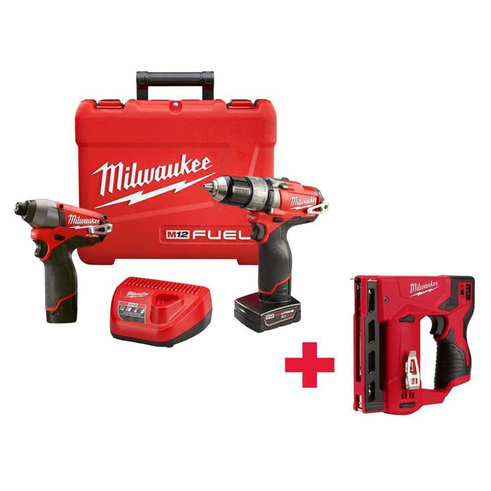 Milwaukee Tool M12 FUEL 1/2 in. Hammer Drill/Driver and Impact Combo Kit with Free M12 Stapler $199