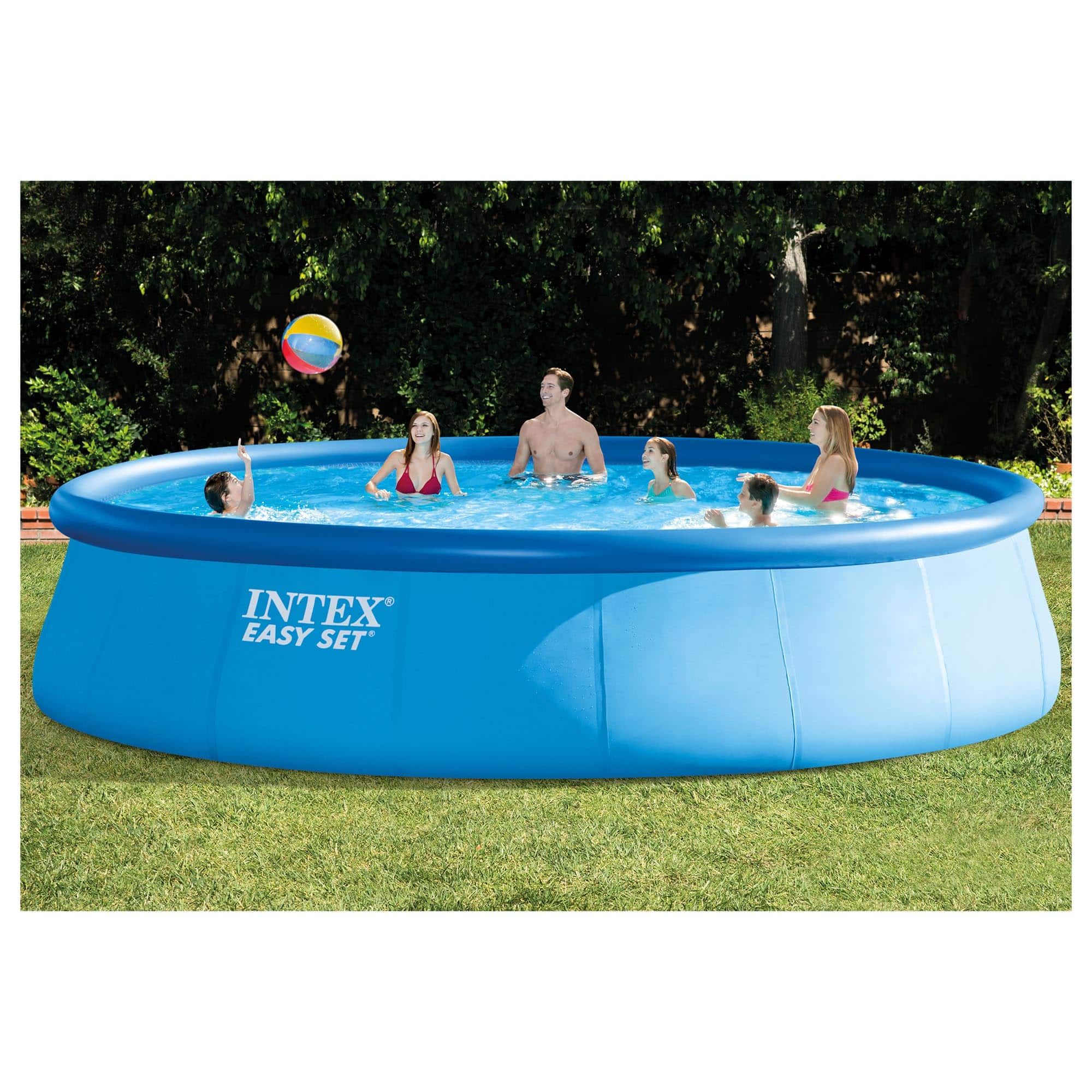 "Intex 18' x 48"" Easy Set Above Ground Pool with Filter Pump $349.99"
