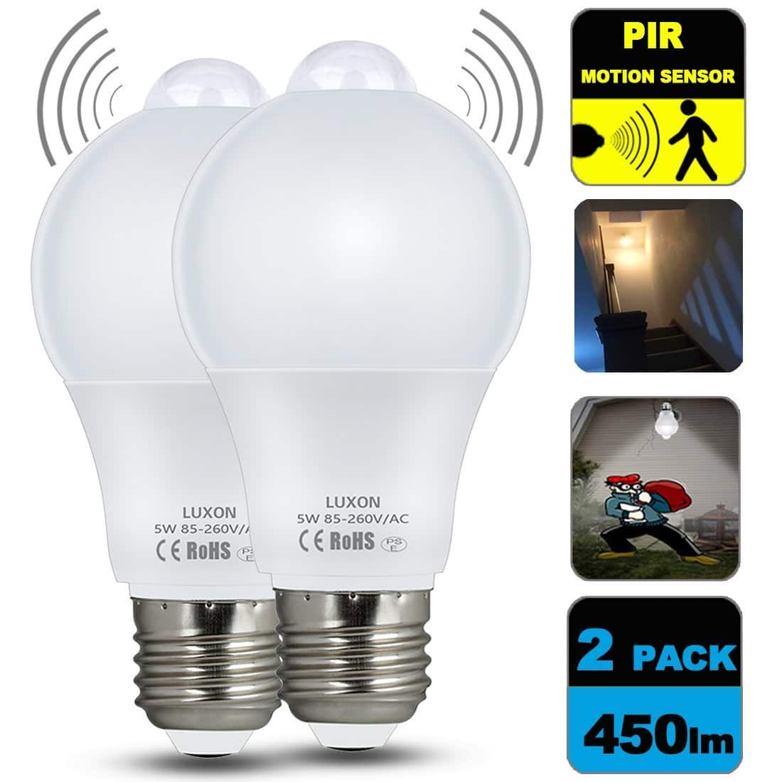 2 Pack Motion Sensor Light Bulb 5W Soft White 2700K, $11.89