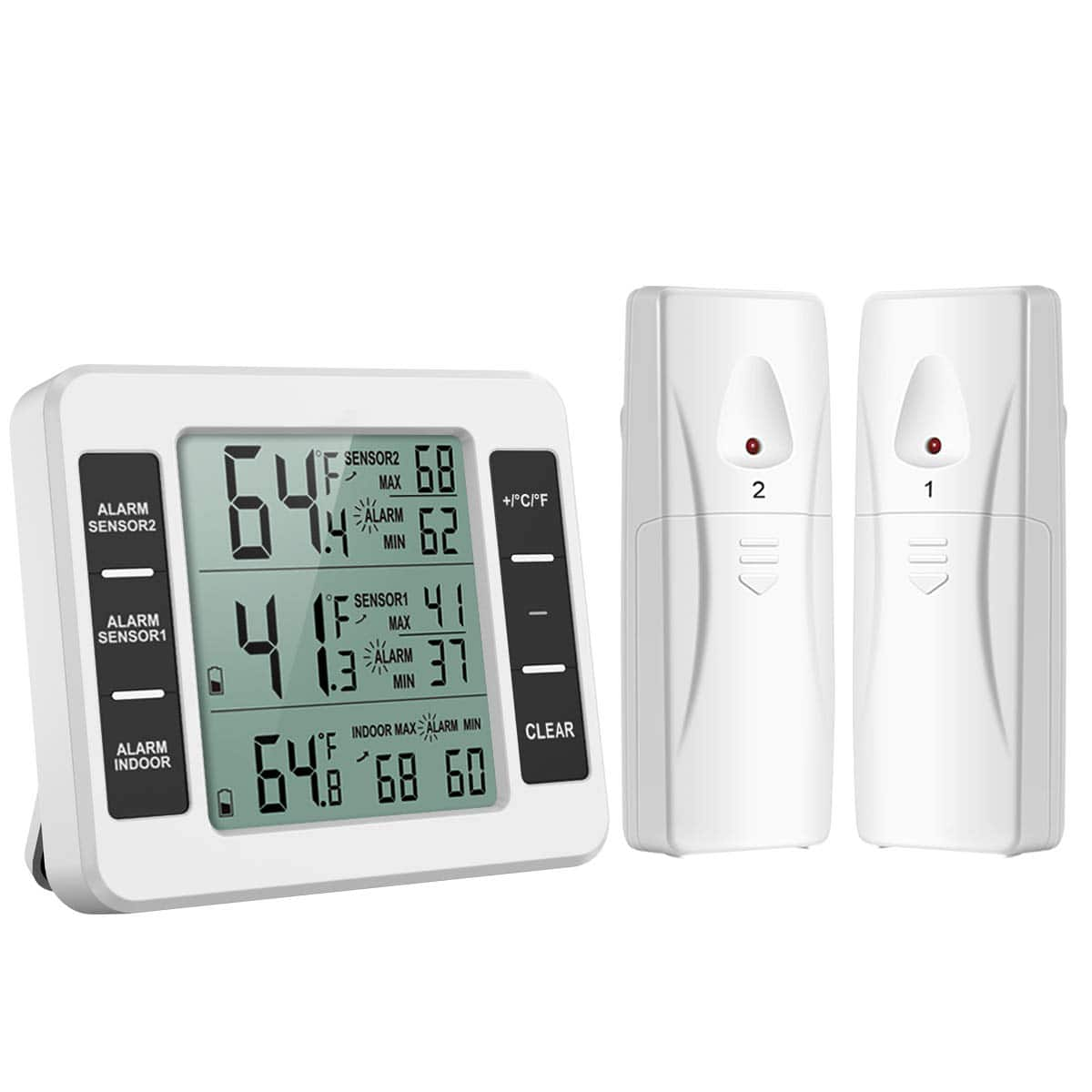 Refrigerator Thermometer with 2 Wireless Sensors, Audible Alarm, Min and Max Record, LCD Display for Home $11.69