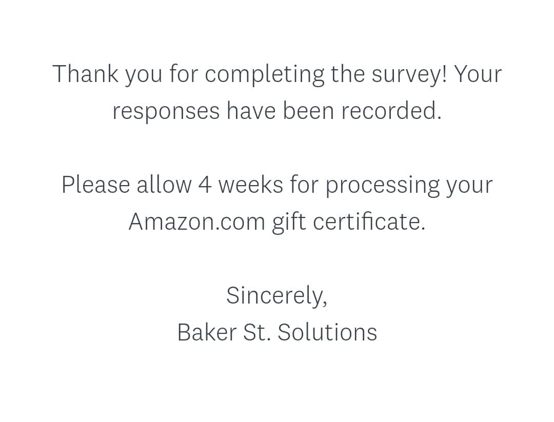 H/U: Baker St Solutions Members check your email for a new Survey - Pays $8.00
