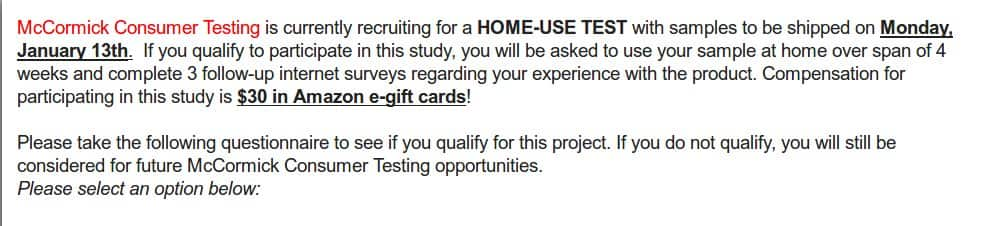 H/U:McCormick Consumer Testing Members - Check your email for a Home Use Test Opportunity - YMMV- Pays $30.00 Amazon Gift Card