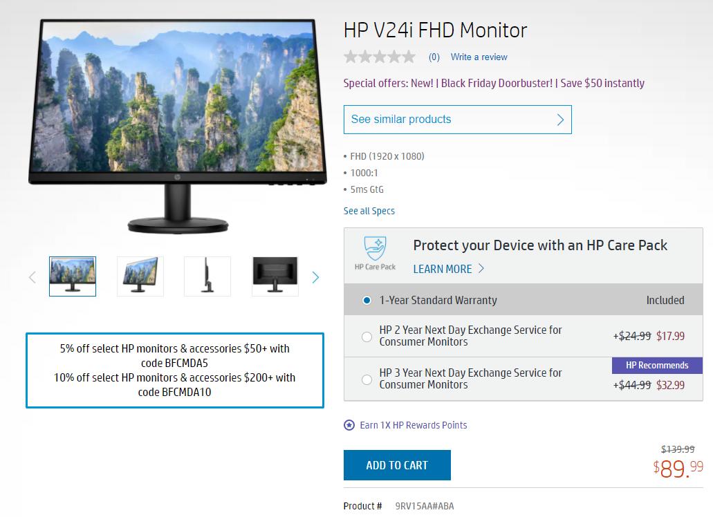 24in 1080P HP IPS Monitor (9RV15AA#ABA) $89.99 free shipping