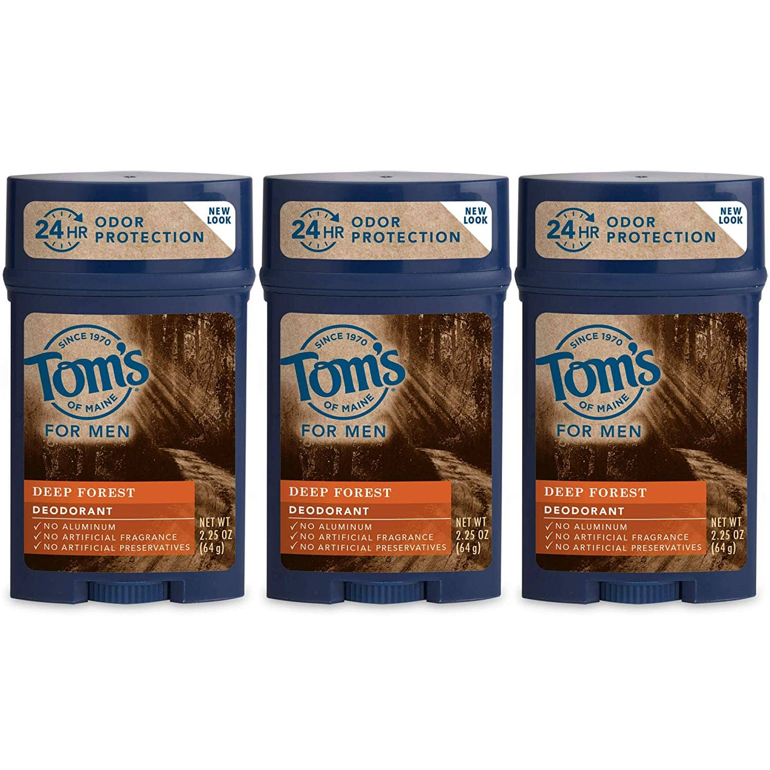 Tom's of Maine Natural Long Lasting Men's Deodorant Stick, Deep Forest, 2.25 Ounce, Pack of 3 [Deep Forest] $6.16