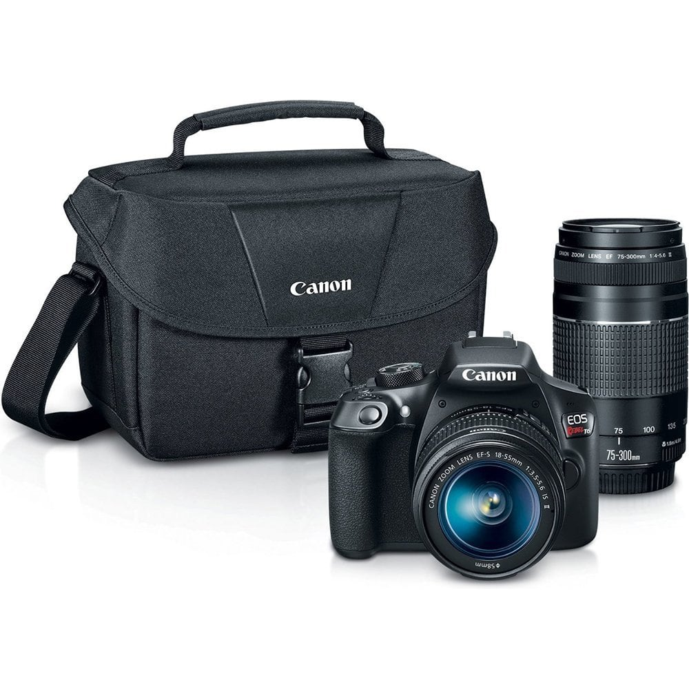 Canon Digital SLR Camera Kit [EOS Rebel T6] with EF-S 18-55mm and EF 75-300mm Zoom Lenses $399